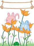 Cartoon Shy Cat Land_eps. Illustration of two shy cats with flowers, turtle and addition love frame design Stock Photo