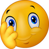Cartoon Shy emoticon smiley Stock Images