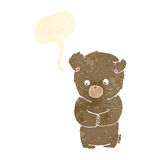 Cartoon shy teddy bear with speech bubble vector illustration