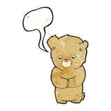 Cartoon shy teddy bear with speech bubble royalty free illustration