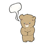 cartoon shy teddy bear with speech bubble Stock Photography