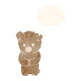 Cartoon shy teddy bear with thought bubble vector illustration