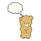 cartoon shy teddy bear with thought bubble Royalty Free Stock Photo