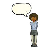 Cartoon shy woman with speech bubble Royalty Free Stock Images