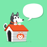 Cartoon siberian husky dog and kennel with speech bubble. For design Royalty Free Stock Photo