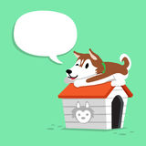 Cartoon siberian husky dog and kennel with speech bubble. For design Royalty Free Stock Photography