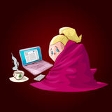 Cartoon sick girl with blanket. Colorful vector illustration of a cartoon sick girl, covered with blanket, having hot tea or medicine, chilling infront of a Royalty Free Stock Photography
