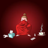 Cartoon sick girl with blanket. Colorful vector illustration of a cartoon sick girl, covered with blanket, having hot tea or medicine and used tissues and pills Stock Photo