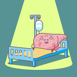 Cartoon sick liver. Lying with sickbed , great for health care concept Royalty Free Stock Images