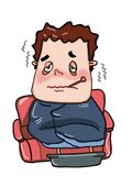 Cartoon  sick man illustration speech bubble. Cartoon sick  man illustration speech bubble  and white background Stock Images