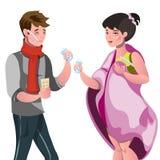 Cartoon Sick Man and Woman. Vector illustration Royalty Free Stock Photos