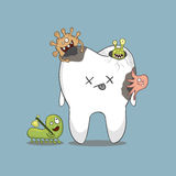 Cartoon sick tooth. With bacteria vector illustration