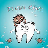 Cartoon sick tooth with bacteria. Hand drawn vector Stock Image