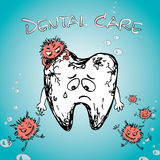 Cartoon sick tooth with bacteria. Hand drawn vector Royalty Free Stock Photo