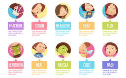 Cartoon Sickness Child Icon Set Royalty Free Stock Photography