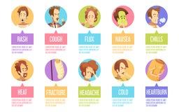Cartoon Sickness Man Icon Set. Colored and  cartoon sickness man icon set with cold headache chills flux rash descriptions vector illustration Stock Photos