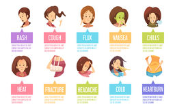 Cartoon Sickness Woman Icon Set Stock Images
