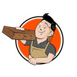 Cartoon sign of a happy carpenter. Funny cartoon sign of a happy carpenter royalty free illustration