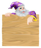 Cartoon sign and wizard Royalty Free Stock Photo