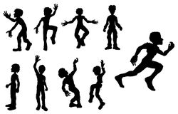 Cartoon Silhouette 9. Set of 9 cartoon active people silhouettes, vector Stock Photography