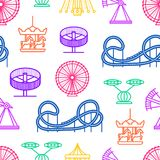 Cartoon Silhouette Amusement Park Seamless Pattern Background. Vector. Cartoon Silhouette Amusement Park Seamless Pattern Background Attraction Leisure Concept Royalty Free Stock Images