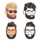 Cartoon and silhouette bearded hipster man set