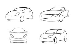 Cartoon silhouette of a car Stock Images