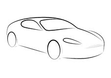 Cartoon silhouette of a car Royalty Free Stock Photos
