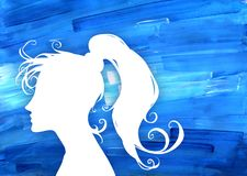 Beautiful cartoon black silhouette illustration of a beautiful and elegant woman portrait. Cartoon silhouette illustration of a beautiful and elegant woman Stock Image