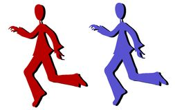 Cartoon Silhouette Men Running. A clip art cartoon illustration of your choice of 2 silhouette men running - your choice of blue or red isolated on white Royalty Free Stock Photo