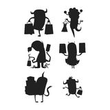 Cartoon silhouette monster shopping vector character illustration. Stock Image