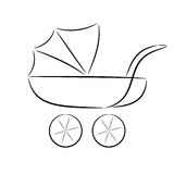 Cartoon silhouette of a pram Stock Image