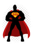 Cartoon silhouette of a superhero with dad symbol. On chest Royalty Free Stock Images