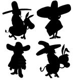 Cartoon sillhoette of mexican characters Stock Photos