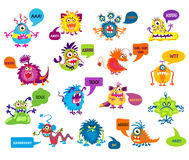 Cartoon silly monsters with funny inscriptions vector illustration Royalty Free Stock Photography