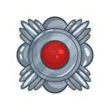 Cartoon silver medal decorated with big red stone in the middle, victory reward emblem Stock Photo