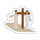 Cartoon simon help jesus carry cross Stock Images
