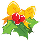 Cartoon simple mistletoe red and green design element with yello Royalty Free Stock Photography
