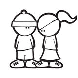 Cartoon Simple Style Boy & Girl flirting Stock Photo