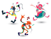 Cartoon singer doing funky dance. Royalty Free Stock Image