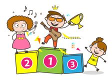Cartoon Singers and Kid Celebrating Vector Concept. Design Stock Images