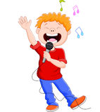 Cartoon singing happily while holding the mic Royalty Free Stock Photos