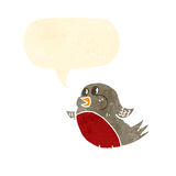 Cartoon singing robin Stock Photo