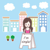 Cartoon single girl in town Royalty Free Stock Images