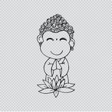 Cartoon Sithata Monk concentration Royalty Free Stock Images