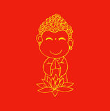 Cartoon Sithata Monk concentration Royalty Free Stock Photos
