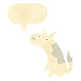 Cartoon sitting dog with speech bubble Royalty Free Stock Photos