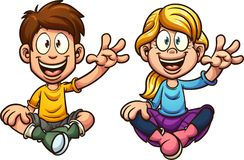 Cartoon sitting and waving kids Royalty Free Stock Photo