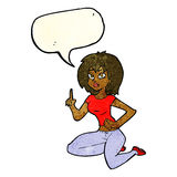 Cartoon sitting woman with idea with speech bubble Stock Images