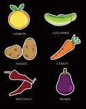 Cartoon six types of vegetables vector illustration